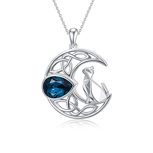 Celtic Moon Necklace 925 Sterling Silver Crescent Moon and Origami Cat Pendant Necklace Moon Cat Jewelry Gifts for Women Teen Girls Cat Lovers