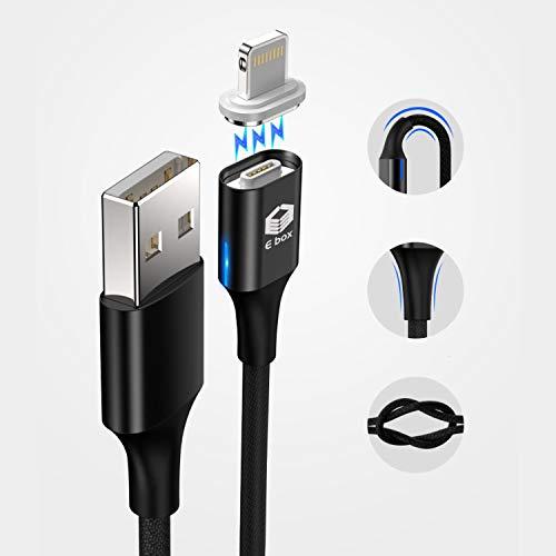 E-BOXマグネットケーブル3A急速充電データ転送3in1充電ケーブル1m×3本MicroUSBライトニングTypeCケーブル(3本セットブルー)