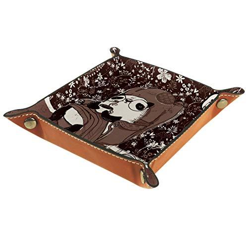 Bandeja de Valet, cajón de Cuero de PU, Organizador de bandejas, Caja de Almacenamiento para Relojes, Monedas, Monedas, Billetera, Pandas en sillón marrón