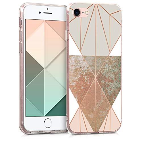 kwmobile Hülle kompatibel mit Apple iPhone 7/8 / SE (2020) - Handyhülle - Handy Hülle Glory Dreieck Beige Rosegold Weiß