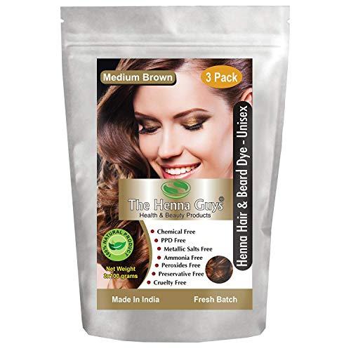 Tinte/tinte para cabello y barba con henna 100 gramos - Color de cabello sin químicos - The Henna Guys (3 Packs, Medium Brown)