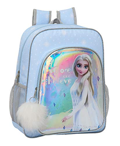 Safta 612015640 Mochila junior niña adaptable carro Frozen II  Azul Claro  Plata