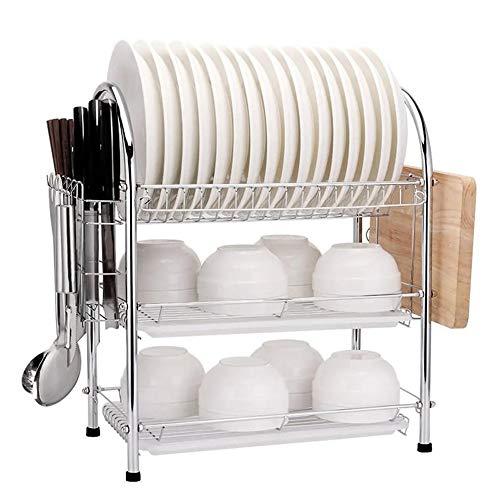 HO-TBO Escurreplatos, 3 Capa Escurridor sostenedor del Estante de Secado por Goteo Cocina Almacenamiento for la Cocina de Plata Artículos para el hogar prácticos (Color : Silver, Size : 43x25x50cm)