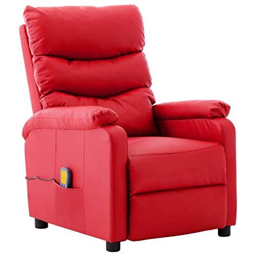 vidaXL Sillón de Masaje Reclinable Eléctricas Silla Shiatsu Relax Mueble Balanceador Elevador Ergonómico Cómoda de Calor Cuero Sintético Rojo