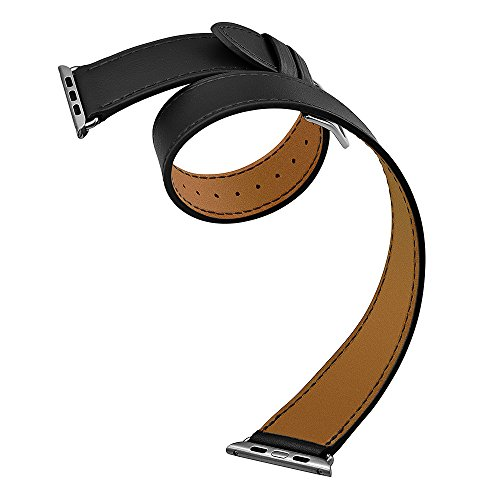 Kartice for Apple Watch Band,Luxury Genuine Leather Watch Band Strap Bracelet Replacement Wrist Band With Adapter Clasp for iWahtch Apple Watch & Sport & Edition--Double tour black 42mm