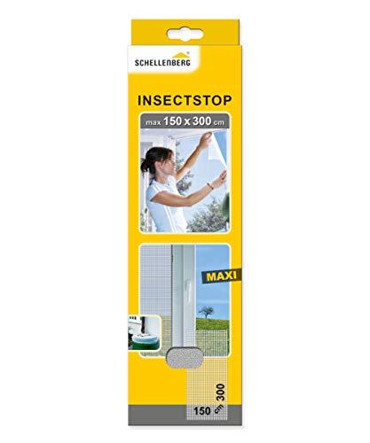Schellenberg 50324 Insektenschutz für große Fenster 150 x 300 cm einfache Montage ohne bohren, individuell kürzbar, Fliegengitter, weiß