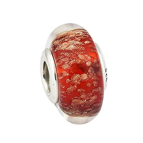 LIIHVYI Pandora Charms para Mujeres Cuentas Plata De Ley 925 Bricolaje De Vidrio Rojo Centelleante Compatible con Pulseras Europeos Collars
