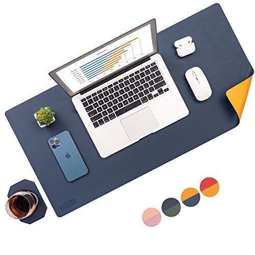 Tischunterlage,Schreibtischunterlage Doppelseitig,Laptop Tischunterlage Mit Untersetzer,Wasserdichte Schreibunterlage für Büro- oder Heimbereich(Blau&Gelb, 80 * 40)