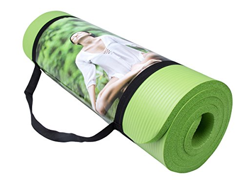 QUBABOBO Tappetino da Yoga Spessore di 10mm Durevole Antiscivolo Tappetino per Esercizio Pilates Ginnastica And Fitness 183cm x 61cm x 1cm Verde Chiaro