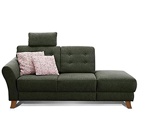 Cavadore Recamiere Trond mit Federkern / Modernes Sofa im Landhausstil mit Armteil links / Inkl. Kopfstütze und Rückenkissen / 194 x 89 x 92 / Flachgewebe grün