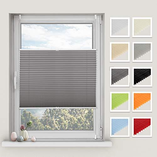 BelleMax Plissee klemmfix Rollos für Fenster ohne Bohren Sonnenschutz Easyfix klemmträger verspannt 45x130 cm(BxH) Anthrazit