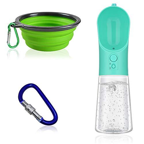 FineGood Botella de agua para perro con filtro activado, a prueba de fugas, dispensador de agua portátil al aire libre para mascotas con cuenco plegable