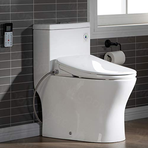 WOODBRIDGE T-0023 Elongated one Piece toilet with Smart Bidet Seat, Electronic Advanced Self Cleaning, SoftClose Lid, Adjustable Water Temperature, LED Nightlight, Heated Seat, Warm air Dryer. WHITE