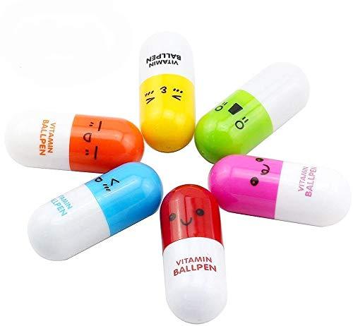 DaoRier 6 piezas pastillas Mini retráctil bolígrafo telescópico cápsula bola Tiny Cute Novelty cápsula bolígrafos de punta de bola Favor regalo telescópico