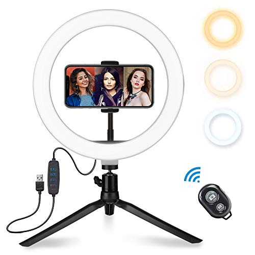 "10"" LED Ring Light, Selfie Ring Lights with Adjustable Tripod Stand & Flexible Cell Phone Holder, YKSINX Dimmable Mini Desktop Led Camera Ringlight for Phone Video Shooting,Vlog,Live Stream,YouTube"