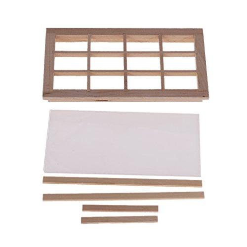 6Wcveuebuc Casa de muñecas de 12 paneles de madera para ventanas de 1/12 escalas