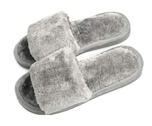 Women's Fuzzy Fluffy Furry Fur Slippers Flip Flop Open Toe Cozy House Memory Foam Sandals Slides Soft Flat Comfy Anti-Slip Spa Indoor Outdoor Slip on (02/Grey, 7.5-8.5 M US)