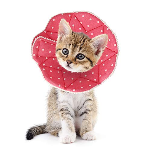SLSON Cat Recovery Collar Soft Pet Cone Collar Protective for After Surgery Cotton Adjustable Fasteners Collar for Cat and Puppy, Pink(S)