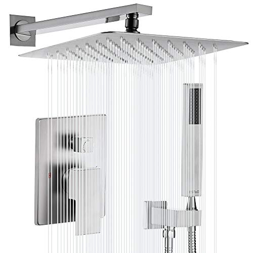 Esnbia Shower System, Brushed Nickel Shower Faucet Set with Valve and 12' Rain Shower Head...