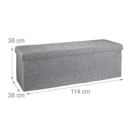 Relaxdays Faltbare Sitzbank XL HBT 38 x 114 x 38 cm stabiler Sitzcube mit praktischer Fußablage als Sitzwürfel aus Leinen als Aufbewahrungsbox mit Stauraum und Deckel zum Abnehmen für Wohnraum, grau - 4