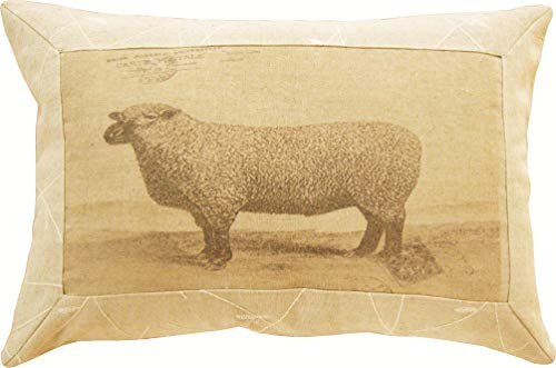 elbmöbel Cushion 30 x 45 cm Sheep Print Beige Filling Cushion Decorative Sheep Decorative