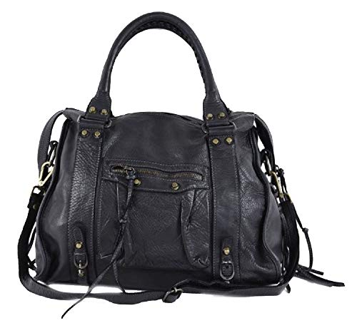 BZNA Bag Simona schwarz Italy Designer Damen Ledertasche Handtasche Schultertasche Tasche Leder Beutel Neu