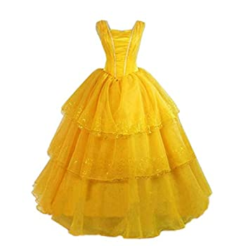 Mordarli Belle Costume for Women Adult Cosplay Princess Fancy Dress Ball Gown for Halloween Party Yellow
