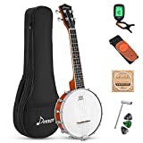 Donner DBU-200 Banjolele, 4 String Banjo Ukulele Concert 23 Inch Remo Sapele Drumhead with Strap, Picks, Strings, Gig Bag, Tunner, Truss Rod for Kid Adult Beginner