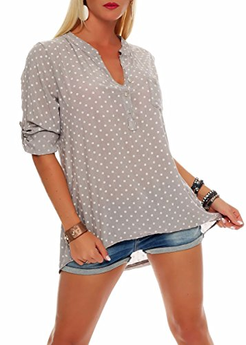 Malito Damen Bluse mit Punkten | Tunika mit ¾ Armen | Blusenshirt auch Langarm tragbar | Elegant - Shirt 3419 (Fango)