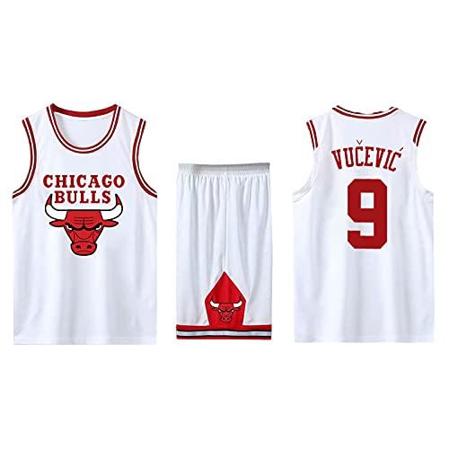 EFXCHSY Conjunto de 2 piezas de camiseta sin mangas de entrenamiento de baloncesto y pantalones cortos Traje de camiseta Pantalones cortos deportivos Chicago Bulls Jerseys + Pantalones Hombr