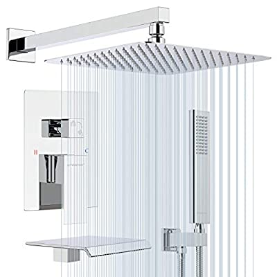 EMBATHER Shower System with Waterfall Tub Spout- 12 Inches Chrome Rain Shower Tub Faucet Set with Square Showerhead and Handhled-Eco-Friendly?Valve included?
