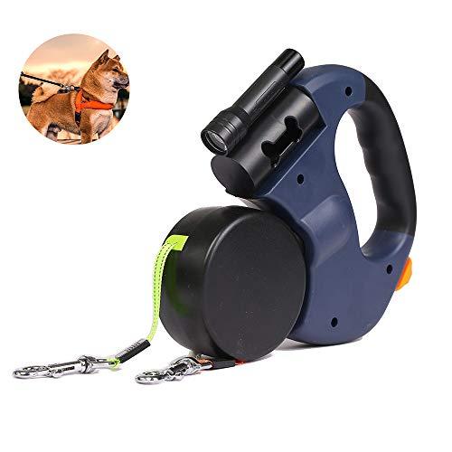 Dierbenodigdheden Halsbanden Riemen Automatische Inklapbare Lijn 3 M LED Zaklamp Lead Hondenriem Met Vuilniszakken,Blue