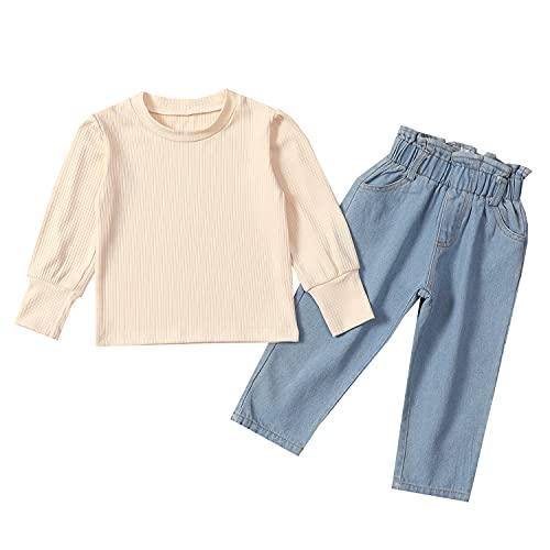Verve Jelly Conjunto de traje para niñas pequeñas y bebés Camiseta de punto de manga larga Tops + Pantalones vaqueros de mezclilla Ropa de otoño invierno para niñas pequeñas Beige 130 5-6 años