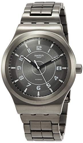 Swatch Herren Analog Automatik Uhr mit Edelstahl Armband YIM400G