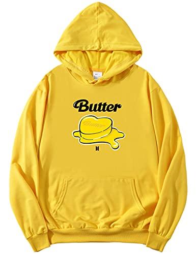 kpop Merch Butter Hoodie – Pullover Jungkook V Jin Suga Jimin J-HOPE RM Funny Hoody ARMY Unisex Gr. L, gelb