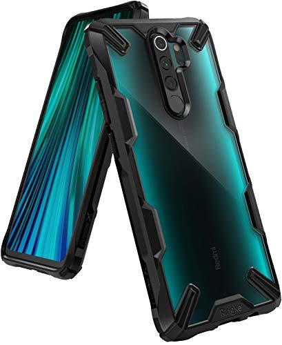 Ringke Fusion-X Kompatibel mit Xiaomi Redmi Note 8 Pro Hülle, Transparente Hart Rückseite mit Flexibel Rahmen - Schwarz