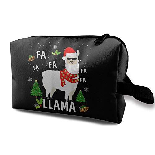 Schminktasche FA LA LA Lama Santa Weihnachten Lustige tragbare Kosmetiktasche Travel Tolietry Bag Große Schminktasche wasserdichte Organizer-Tasche für Frauen Mädchen