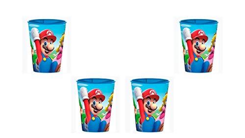 2754; pak 4 glazen Super Mario; herbruikbaar product; plastic product; Geen BPA, ideaal voor feestjes en verjaardagen; inhoud 260 ml