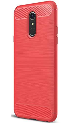 XINFENGDI LG Q7 Hülle, Tasche mit Stoßdämpfung Robuste TPU Stylisch Karbon Design Handyhülle Hülle Hülle für LG Q7 - Rot