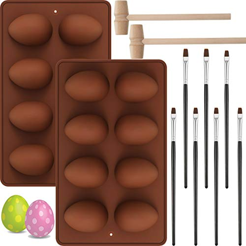 2 Pieces 8-Cavity Easter Eggs Silicone Mold Half Egg Mold Chocolate Mold with 2 Wooden Hammers and 7 Cake Brushes for Easter Cake Decorating Home Kitchen DIY Baking