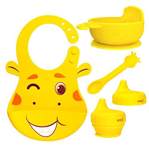 Juego de Vajilla en silicona sin BPA para bebes de 5 Piezas: Babero impermeable, plato antideslizante, cuchara y 2 tapas antiderrames. By MYRO Store.