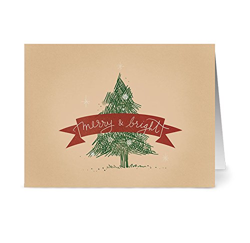 Christmas Cards 36 Pack – Merry & Bright Tree – Unique Holiday Design – KRAFT ENVELOPES INCLUDED – Blank Greeting Card – Glossy Cover Blank Inside – By Note Card Café…