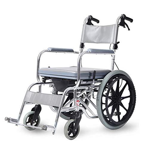 WZB - Wheelchair Rollstuhl aus Aluminiumlegierung Leichter, Selbstfahrender Rollstuhl, Faltbar mit Drehpedal, Rollstuhl 15 cm, Reifen Ohne Aufpumpbedarf, für Beinverletzungen Geeignet