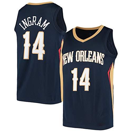 WSWZ Camiseta De Baloncesto De La NBA - Camisetas NBA New Orleans Pelicans 14# Brandon Ingram para Hombre - Unisex Cómodo Camiseta Sin Mangas Deportiva De Baloncesto,A,L(175~180CM/75~85KG)