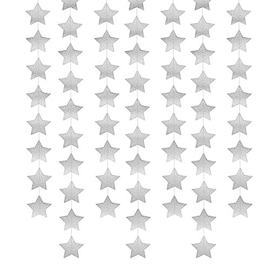 BTMB Star Banner Garland Decorations Paper Hanging Bunting Sparkling Hanging for Backdrop Wedding Baby Shower Christmas,Total 52ft (Silver)