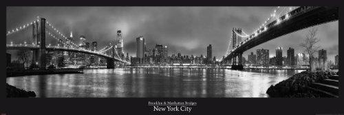 New York Manhattan Brooklyn Bridge Türposter XXL-Poster schwarz-Weiss Foto - Grösse 158x53 cm