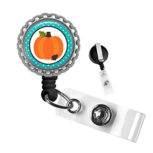 Thanksgiving Fall Teal Pumpkin Silver Retractable ID Tag Badge Reel by Geek Badges