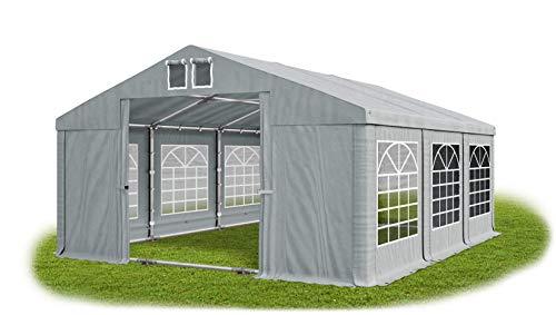Das Company Partyzelt 5x6m wasserdicht grau mit Bodenrahmen und Dachverstärkung 560g/m² PVC Plane Robust Festzelt Gartenzelt Summer Plus SD