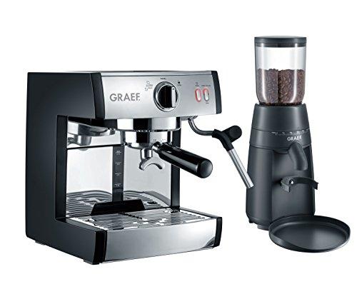 Graef ES702EUSET Siebträger-Espressomaschine, schwarz-matt/edelstahl