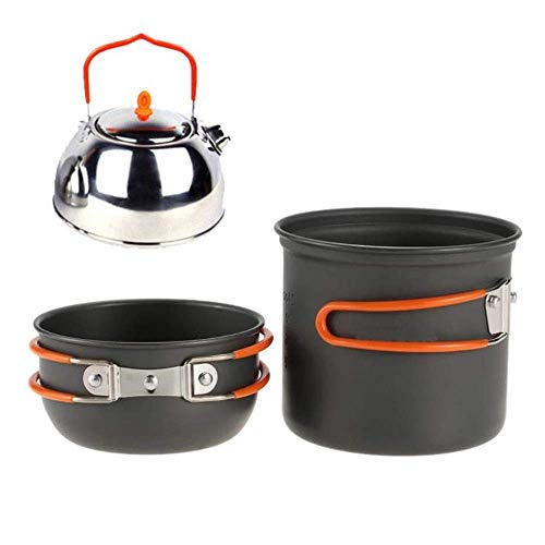 XHLLX Outdoor Cooking Set Non Aluminium Camping Cookware Mess Kit Pot Pan Kettle Cooking Equipment Portable Backpacking Cookset With Mesh Bag Picnic Cooking Tool